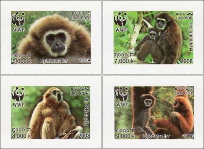 Worldwide Nature Conservation: Handed Gibbon -IMPERFORATED- (MNH)