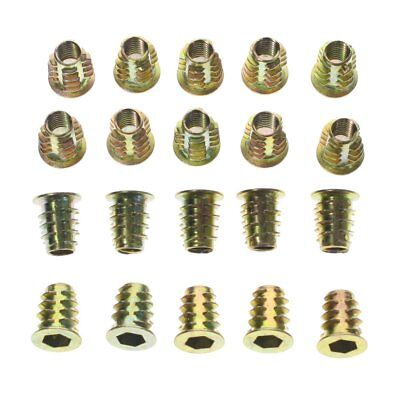 20x M6 13mm Zinc Plated Hex Socket Screw in Thread Insert Nut for Wood