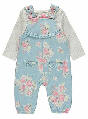 Baby Girls Floral Dungaree Set Outfit Top and dungarees  size 0-18