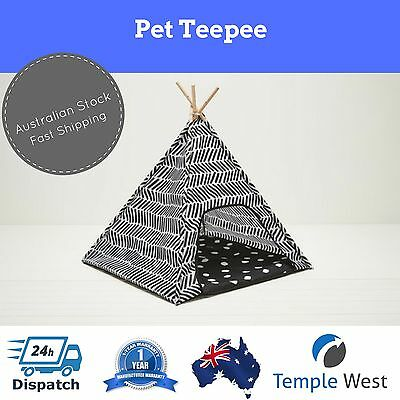 NEW Pet Teepee Dog Cat Puppy Tent Playhouse Kennel Bed Folds Flat