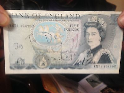 Freddie Mercury autographed signed on old £5 Note