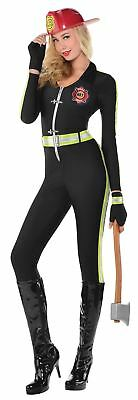 Ladies Sexy Fire Fighter Fired Up Fancy Dress Costume 8-10