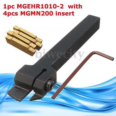 MGEHR1010-2 10 x100mm Grooving Holder Tool With 4Pcs MGMN200 Blade Inserts New