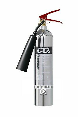 OFFER!! 2 kg Carbon Dioxide CO2 Polished Chrome Silver Fire Extinguisher-FSS UK