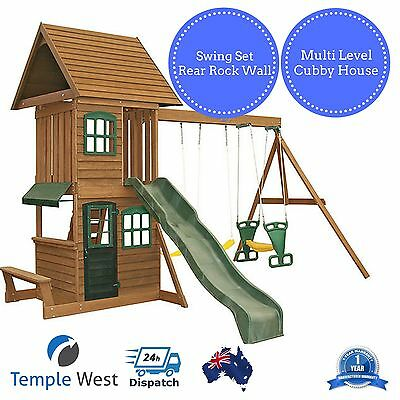 Cubby House Kids Outdoor Wooden Timber Playhouse Pretend Play Swings Slide