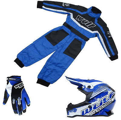 Kids Blue Wulfsport Kit Wulf MX Motocross Set Quad Karting Suit, Gloves & Helmet