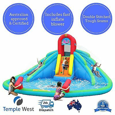 NEW Ocean Park Inflatable Double Water Slide Bouncy Castle Climbing Wall Cannons