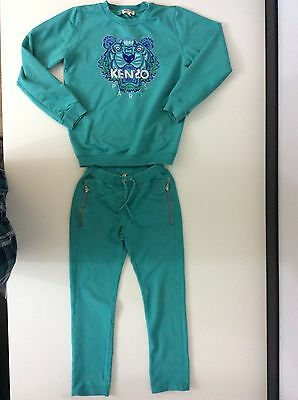 KENZO Girls Jogging Tracksuit Size Age 8a 128cm, Green, Tiger Face, Vgc