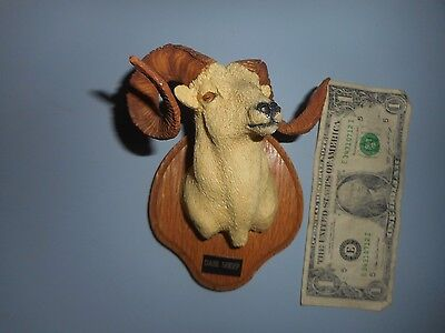 """Forever Wild Enterprises Miniature Dahl Sheep Mount 4.5"""" by 4"""" Oak and Resin"""