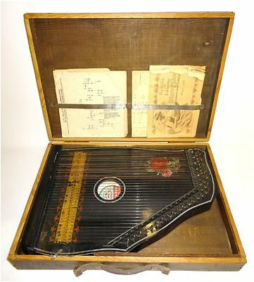 CONCERT GUITARR  ZITHER - filigran bemalt antik um 1900 in Original-Koffer