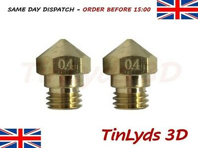2x MK10 BIQU 0.4mm 3d Printer Nozzle M7 THREAD - Dremel Wanhao Flashforge