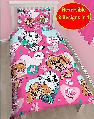 COTTON BLEND - Paw Patrol Skye Single Duvet Quilt Cover Set Girls Kids Pink Bed