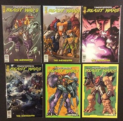 TRANSFORMERS BEAST WARS:THE GATHERING  #1 - 4 Comic Books + Sourcebook #1-2 IDW