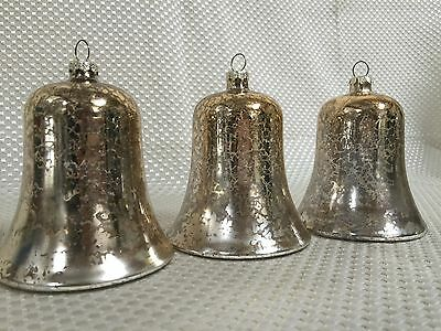 3 Mercury, Gold foil, hand blown glass bell shaped Christmas ORNAMENTS Or Decor
