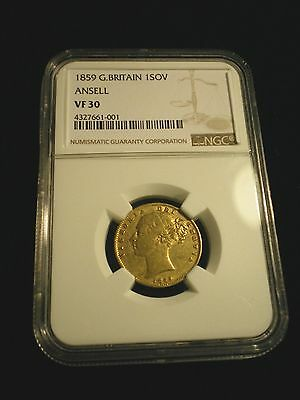 Rare Ansell 1859 Queen Victoria Ngc Vf30 Full Gold Sovereign Coin