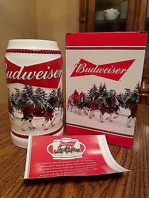 2016 Budweiser Holiday Christmas  Stein small fac flaw Clydesdale Beer Busch New