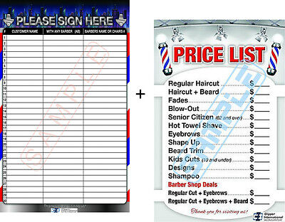 Barber Posters - Customer Registration Board + Barber Price List Laminated 24x36