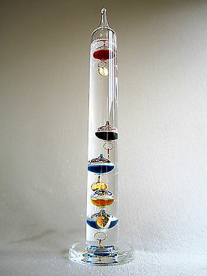 """Galileo Blown Glass Multicolor Indoor Thermometer 11-1/2"""" 64-80 degrees"""