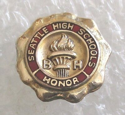 Vintage Seattle High Schools BH Honor Award Pin Gold-Filled