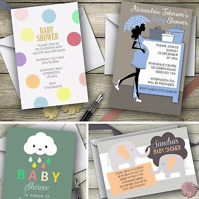 Baby Shower Personalised Invitations including envelopes / 12 designs!