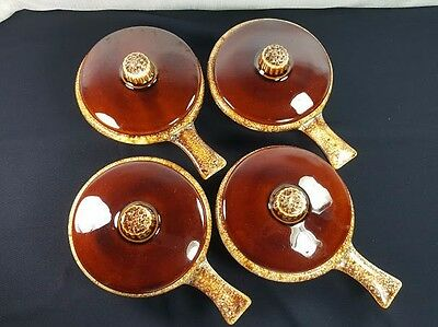 Set of 4 Vintage hull Pottery Covered Brown Drip Glaze Stick Handled Soup Bowls