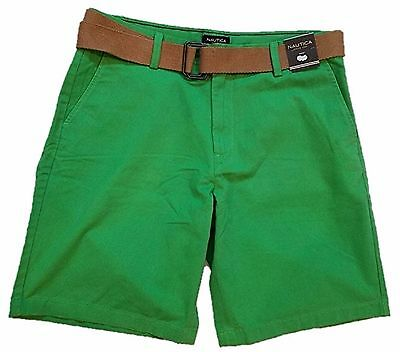 Nautica Mens Size 40 Flat Front Chino Shorts w/Belt, Summer Green