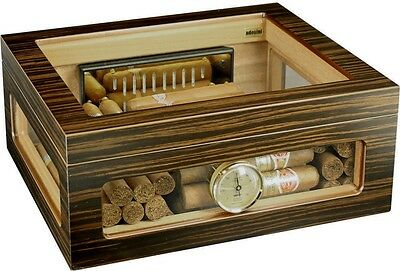 ADORINI TREVISO DELUXE Superior Quality Glass Top HUMIDOR - fits up to 68 Cigars