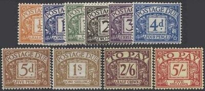 GREAT BRITAIN QEII 1955-57 Postage Dues Scott J45-54 SGD46-55 Lightly Hinged