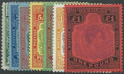BERMUDA KGVI 1938-51 Set of 14 Values Scott 118-128 Lightly Hinged cv $265