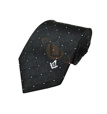 Superior Quality Masonic 100% Silk Woven Tie with Square Compass & G Black