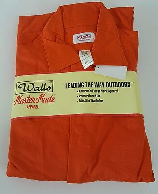 New WALLS Men's Long Sleeve Orange Coveralls Overalls Sz 48 Reflective Tape NEW