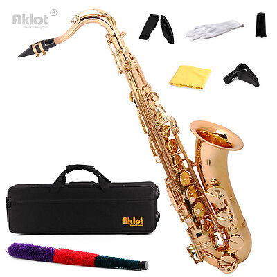 Aklot Bb Gold Beginner Tenor Saxophone Sax Brass Body with Case and Mouthpiece