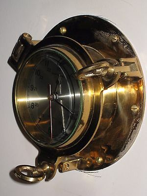 Vintage Ship's Time Brass Porthole Clock Japan Movement