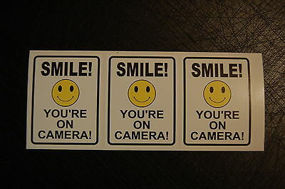 6x SMILE ON CAMERA STICKERS decal video SURVEILLANCE camera security home CCTV
