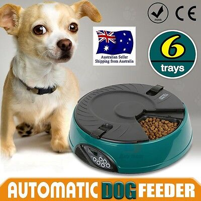 AUTO Dog Pet Feeder Dispenser Food Bowl Cat 6 Meal Automatic Program Digital LCD