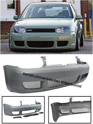 R32 Style Front Bumper Cover W/ Black Mesh Grille For 99-05 VW Golf MK4 GTI IV
