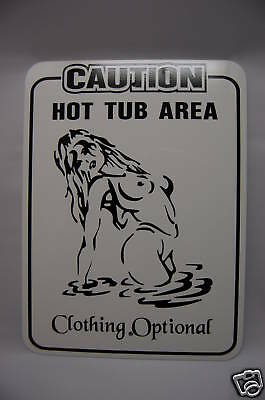 Hot Tub backyard metal vinyl sign clothing 12x9 Spa pool TiKi bar Cabin parking