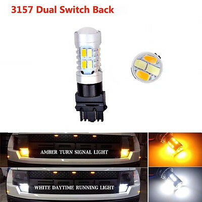 1x Dual-Color Amber White Switchback 3157 20SMD 5730 LED Bulbs Turn Signal light