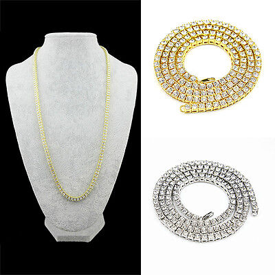 Fashion 1 Row 5MM Clear Cz Stones Iced Out Chain Men's Hip Hop Tennis Necklace