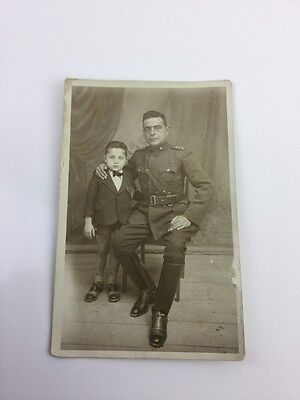 Wwi France Military Photo Postcard Of Soldier And His Young Boy