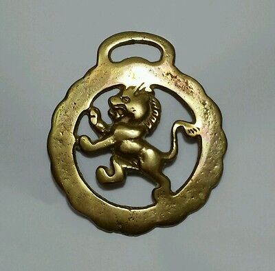 Vintage Brass Horse Bridle Saddle Medallion LION  made in England
