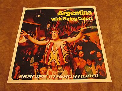 Vintage Braniff International Airlines Poster 1970s - Argentina