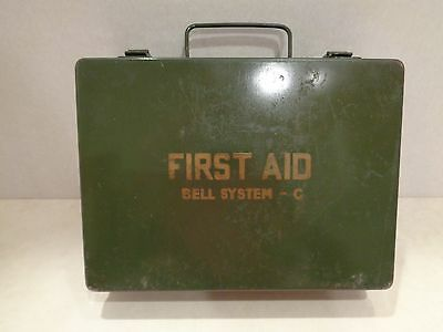 Vintage BELL SYSTEMS-C METAL FIRST AID KIT w /many of Orig. Contents VERY NICE!
