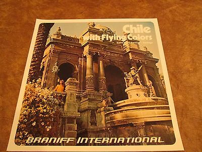 Vintage Braniff International Airlines Poster 1970s - Chile