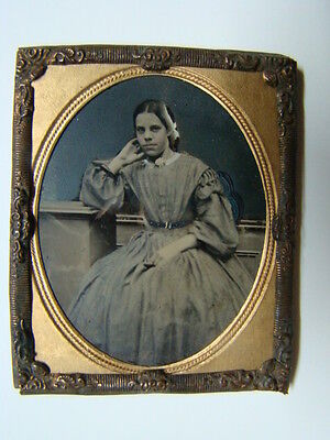 Young Woman's Dress Fashions Ambrotype Photograph 1860's