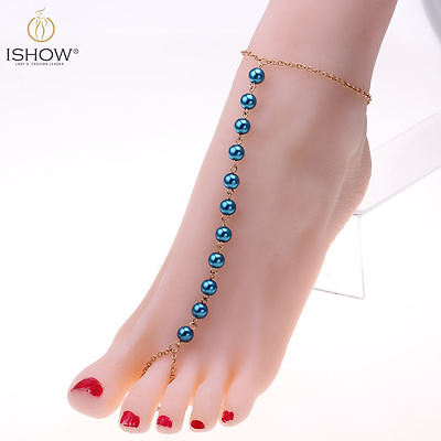 Fashion Slave Beads Chain Toe Ring Anklet Bracelet Barefoot Sandal Foot Jewelry