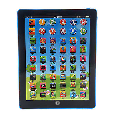 New English Computer Learning Education Machine Tablet Pad Kids Toy Gift Blue WS