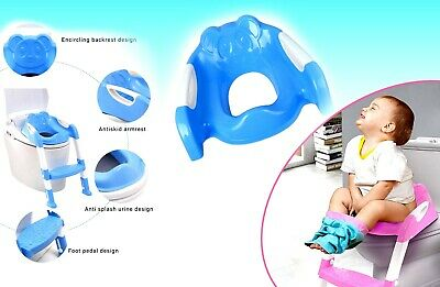 Foldable Baby Potty Training & Toilet Seat with Ladder BLUE