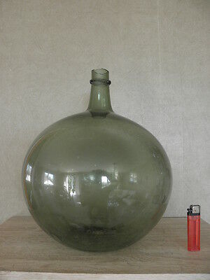Antique 1800's BLOWN GLASS Honey  DEMIJOHN Carboy Bottle old french