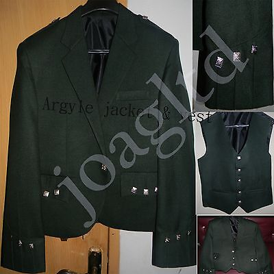 Argyle kilt Jacket & Waistcoat/Vest, Scottish Argyle Jacket-Green Argyle Jacket